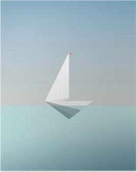 HD Poster Modern düşük poli tarzda yat simgesi simgesi. Yaz tatili ya da seyahat etmek arka plan. özgürlük ve başarı için iş metafor.