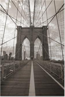 HD Poster New York'ta Brooklyn Köprüsü. Sepya tonu.