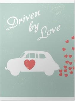 HD Poster Sevgililer kartı için aşk romantik kartpostal tasarımı ile tahrik eski model araba.