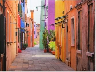 HD Poster Venedik, İtalya yakınlarındaki Burano, renkli sokak