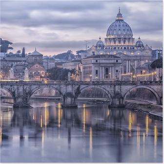 HD Poster Rome en de rivier de Tiber in de schemering