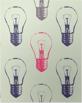 HD Poster Vector grunge naadloze patroon met gloeilampen. Modern hipster schets stijl. Idee en creatief denken concept.