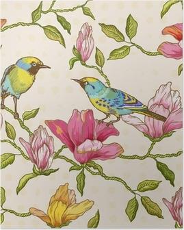 HD Poster Vintage sömlös bakgrund - blommor och fåglar