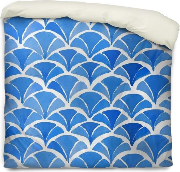 housse de couette aquarelle bleu motif japonais. • pixers® - nous