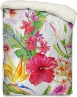 Housse de couette Aquarelle motif floral tropical