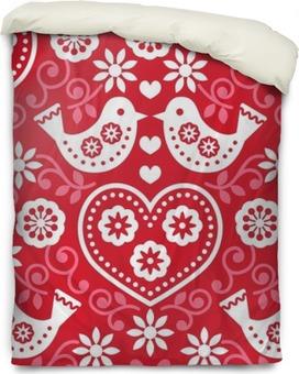 Housse de couette Art populaire rouge seamless pattern avec des fleurs et des oiseaux