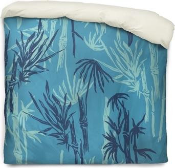 Bambou Motif Tropical Sans Soudure Sur Fond Bleu Exotique Papier Peint Végétal Asiatique Tropical Imprimé Textile Nature Chinois Ou Japonais