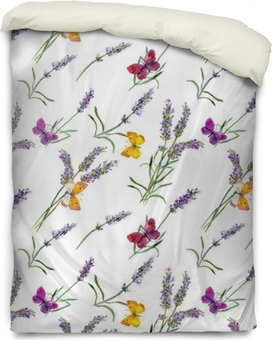 Housse de couette Fleurs de lavande, papillons. modèle sans couture aquarelle