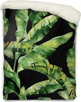 Housse de couette Illustration aquarelle sans couture des feuilles tropicales, jungle dense. Le motif avec un motif tropicale d'été peut être utilisé comme texture de fond, papier d'emballage, textile, conception de papier peint. Feuilles de palmier à la banane