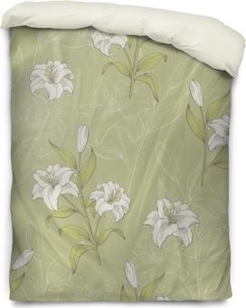 Housse de couette Lily fleur graphique couleur transparente motif croquis illustration vecteur
