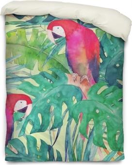 Modèle sans couture d'été avec perroquet aquarelle, feuilles de palmier. illustration colorée Housse de couette