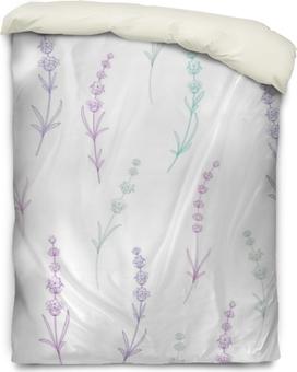Housse de couette Modèle sans couture de fleurs de lavande sur fond blanc. modèle aquarelle avec de la lavande pour l'emballage. illustration vectorielle