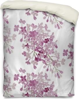 Housse de couette Modèle sans couture. fleurs roses lilas. bannière de fond de vecteur.