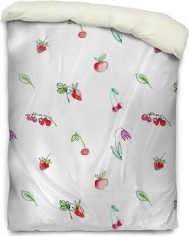 Housse de couette Seamless avec des fruits de jardin et berries.Cherry, framboise, groseille, fraise, pomme et fleur. Aquarelle tiré par la main illustration.White fond.