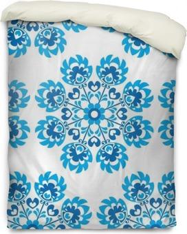 Housse de couette Seamless floral bleu motif d'art folklorique polonaise - wycinanki