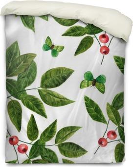 Housse de couette Seamless fond avec des feuilles d'aquarelle, des baies et des papillons