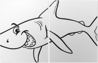 Köpekbalığı Hayvan Karikatür Boyama Kitabı Poster Pixers Haydi