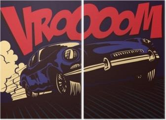 İki Parçalı Pop art çizgi roman tarzı hızlı spor araba vrooom onomatopoeia vektör çizim poster tasarımı ile tam hızda sürüş