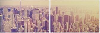 İki Parçalı Vintage gün batımı, NYC, ABD Manhattan silüeti tonda.