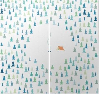 İki Parçalı Yaz orman doğa kamp kamp ateşi ile ağaçları ve çadır ile vektör arka plan. açık hava etkinliği, yürüyüş, trekking, wanderlust sembolü.