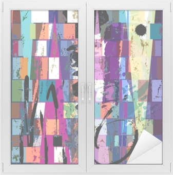 Abstrakti tausta, jossa neliöt, kolmio, maaliyritykset ja s Ikkuna- ja lasitarra