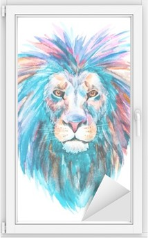 Akvarellivektori leijona Ikkuna- Ja Lasitarra