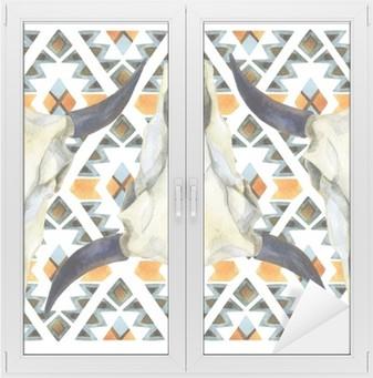 Geometrinen etninen saumaton malli lehmän kallon kanssa Ikkuna- ja lasitarra