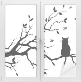 Kissa puussa linnuilla, vektori Ikkuna- Ja Lasitarra