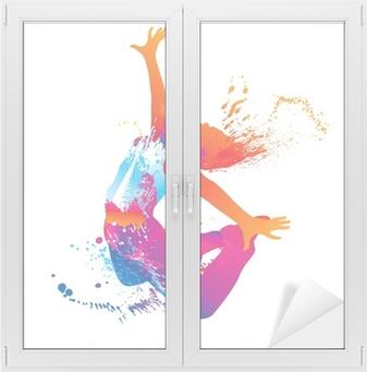 Tanssi tyttö värikkäitä pilkkuja ja roiskeita valkoisella Ikkuna- Ja Lasitarra