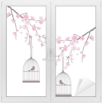 Vektori kirsikankukka linnut häkeissä Ikkuna- Ja Lasitarra