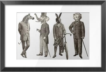Image Encadrée 4 animaux hommes