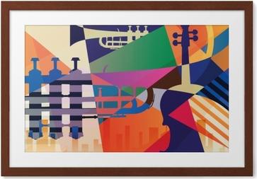 Image encadrée Affiche de jazz abstrait, musique de fond