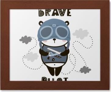 Tableau Sur Toile Brave Pilote Panda Mignon Bebe Panda De Dessin