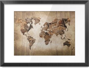 Image Encadrée Carte du monde vintage en bois