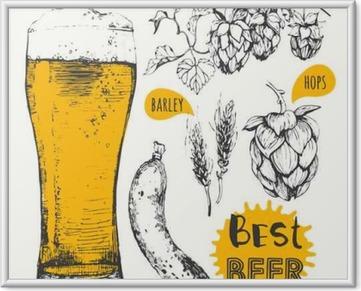 Immagine in Cornice Illustrazione di vettore di birra e salsicce. menù Pub.