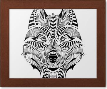 Capo Ufficio Disegno : Carta da parati patterned capo di colore del lupo. disegno totem