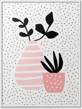 Immagine in Cornice Vaso rosa e Pentola con piante