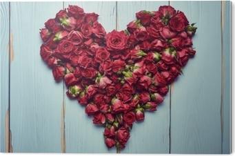 Impressão em PVC Forma de coração de rosas em fundo de madeira