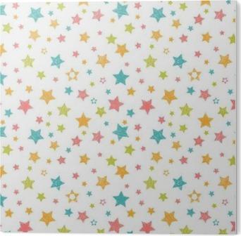 Impressão em PVC Teste padrão sem emenda bonito com estrelas. Cópia à moda com a mão tirada