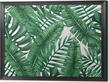 Akvarel tropisk palme efterlader sømløs mønster. Vektor illustration. Indrammet fotolærred
