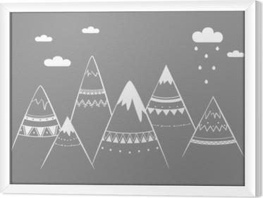 Bjerg kids, håndtegnede vektor illustration Indrammet fotolærred