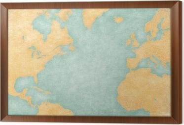 Kort Over Nordatlanten Blank Kort Vintage Series Fototapet