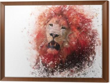 Lion Head akvarel Indrammet Fotolærred
