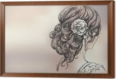 Obraz Na Płótnie Vector Rysunek Z Piękną Dziewczyną Fryzura ślubna