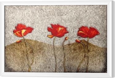 Ingelijst Canvas Abstract bloemolieverfschilderij