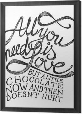 Ingelijst Canvas All You Need Is Love - Hand getrokken citaten, zwart op wit
