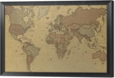 Ingelijst Canvas Ancient World map