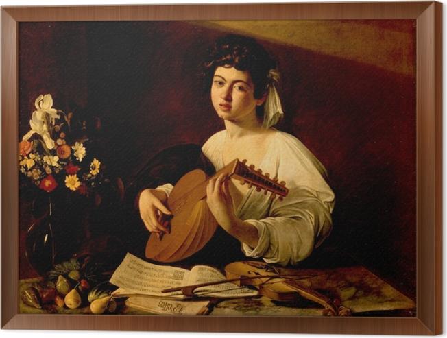 Ingelijst Canvas Caravaggio - De luit bespelend - Reproductions