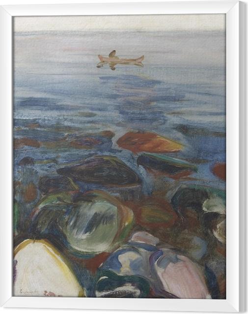 Ingelijst Canvas Edvard Munch - Roeiboot op zee - Reproducties