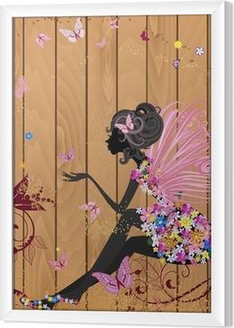 Ingelijst Canvas Flower Fairy op een houten structuur voor uw ontwerp